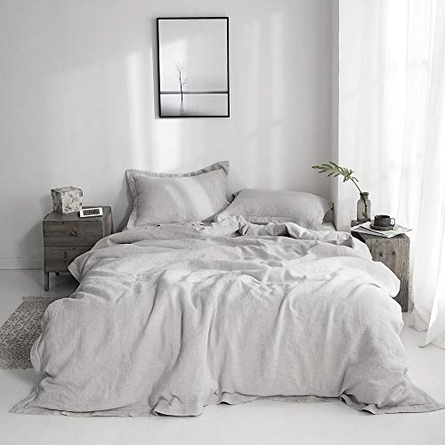 SimpleOpulence 100 Linen Duvet Cover Set With Embroidery Border Stone Washed 3 Pieces 1 Duvet Cover With 2 Pillow Shams With Button Closure Soft Breathable Farmhouse Grey Full Size 0 3