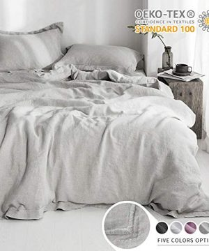 SimpleOpulence 100 Linen Duvet Cover Set With Embroidery Border Stone Washed 3 Pieces 1 Duvet Cover With 2 Pillow Shams With Button Closure Soft Breathable Farmhouse Grey Full Size 0 300x360