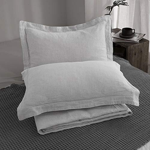 SimpleOpulence 100 Linen Duvet Cover Set With Embroidery Border Stone Washed 3 Pieces 1 Duvet Cover With 2 Pillow Shams With Button Closure Soft Breathable Farmhouse Grey Full Size 0 5