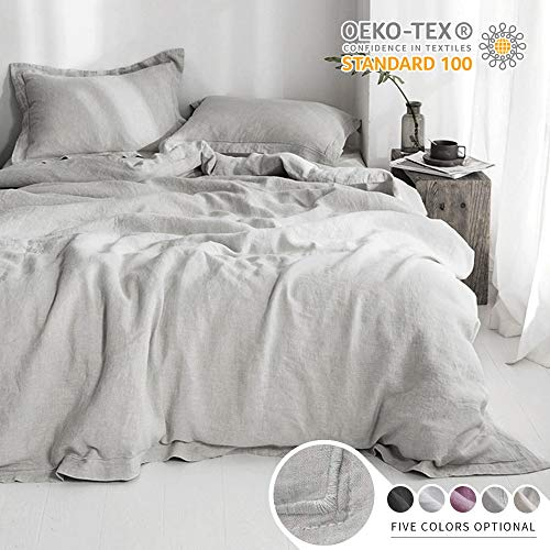 SimpleOpulence 100 Linen Duvet Cover Set With Embroidery Border Stone Washed 3 Pieces 1 Duvet Cover With 2 Pillow Shams With Button Closure Soft Breathable Farmhouse Grey Full Size 0