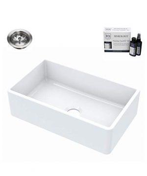 Sinkology SK404 30FC B IQ Turner Farmhouse 30 In Single Bowl Crisp White With Drain And CareIQ Kit Fireclay Kitchen Sink 0 300x360