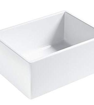 Sinkology SK494 24FC AMZ Wilcox II Farmhouse 24 In Single Bowl Fireclay Kitchen Sink Crisp White 0 0 300x334
