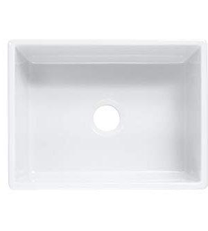 Sinkology SK494 24FC AMZ Wilcox II Farmhouse 24 In Single Bowl Fireclay Kitchen Sink Crisp White 0 1 300x333