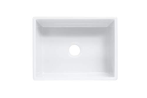 Sinkology SK494 24FC AMZ Wilcox II Farmhouse 24 In Single Bowl Fireclay Kitchen Sink Crisp White 0 1
