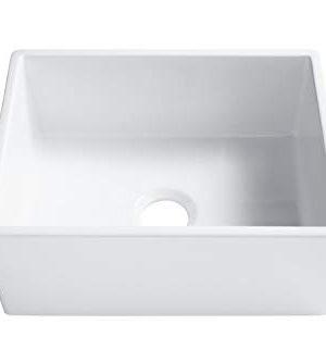 Sinkology SK494 24FC AMZ Wilcox II Farmhouse 24 In Single Bowl Fireclay Kitchen Sink Crisp White 0 2 300x333