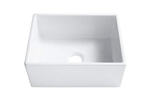 Sinkology SK494 24FC AMZ Wilcox II Farmhouse 24 In Single Bowl Fireclay Kitchen Sink Crisp White 0 2