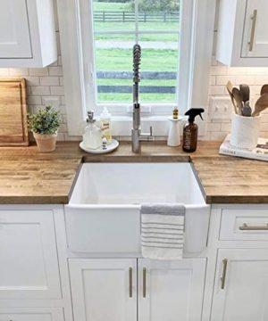 Sinkology SK494 24FC AMZ Wilcox II Farmhouse 24 In Single Bowl Fireclay Kitchen Sink Crisp White 0 3 300x360