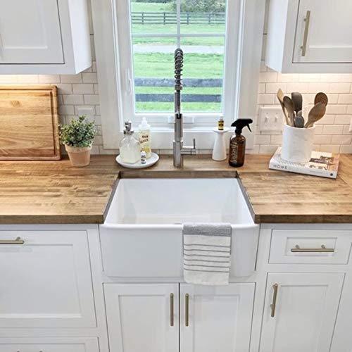 Sinkology SK494 24FC AMZ Wilcox II Farmhouse 24 In Single Bowl Fireclay Kitchen Sink Crisp White 0 3