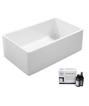 Sinkology SK4AMZ93 33FC IQ Ward Farmhouse 33 In Single Bowl Care IQ Kit Fireclay Kitchen Sink Crisp White 0 300x360