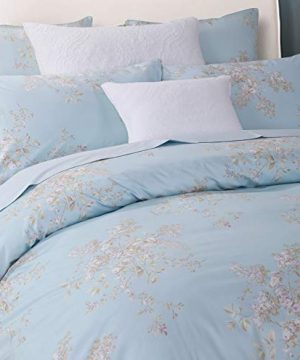 Softta Retro Chic Bohemia French Farmhouse Bedding Sets 3Pcs Twin Size Duvet Cover Sets 68 X 88 Inches Damask 100 Egyptian Long Staple Cotton Vintage Bauhinia Flower Baby Blue 0 0 300x360