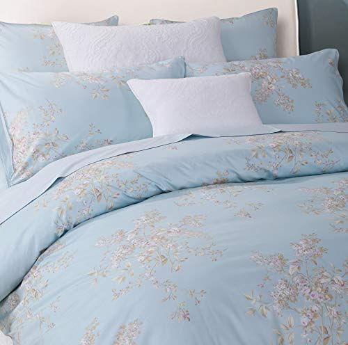 Softta Retro Chic Bohemia French Farmhouse Bedding Sets 3Pcs Twin Size Duvet Cover Sets 68 X 88 Inches Damask 100 Egyptian Long Staple Cotton Vintage Bauhinia Flower Baby Blue 0 0