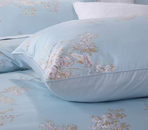 Softta Retro Chic Bohemia French Farmhouse Bedding Sets 3Pcs Twin Size Duvet Cover Sets 68 X 88 Inches Damask 100 Egyptian Long Staple Cotton Vintage Bauhinia Flower Baby Blue 0 1