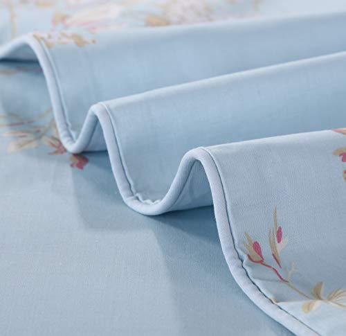 Softta Retro Chic Bohemia French Farmhouse Bedding Sets 3Pcs Twin Size Duvet Cover Sets 68 X 88 Inches Damask 100 Egyptian Long Staple Cotton Vintage Bauhinia Flower Baby Blue 0 3