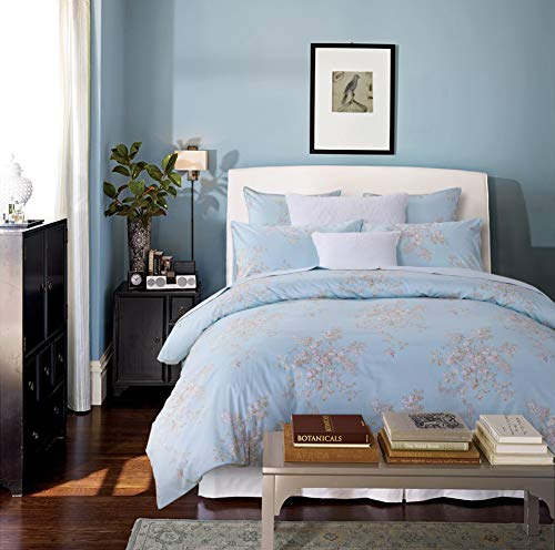 Softta Retro Chic Bohemia French Farmhouse Bedding Sets 3Pcs Twin Size Duvet Cover Sets 68 X 88 Inches Damask 100 Egyptian Long Staple Cotton Vintage Bauhinia Flower Baby Blue 0