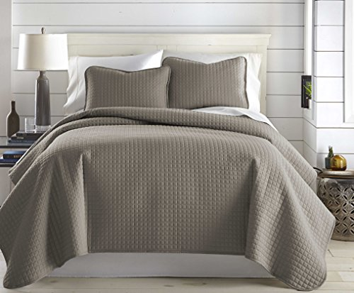 Southshore Fine Linens Vilano Springs Oversized 2 Piece Quilt Set TwinTwin XL Dark Taupe 0 1
