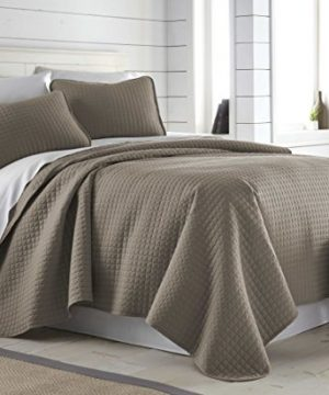 Southshore Fine Linens Vilano Springs Oversized 2 Piece Quilt Set TwinTwin XL Dark Taupe 0 2 300x360