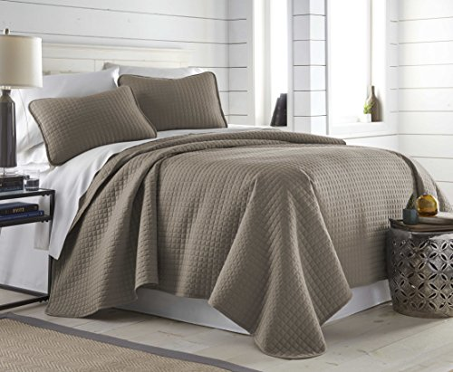 Southshore Fine Linens Vilano Springs Oversized 2 Piece Quilt Set TwinTwin XL Dark Taupe 0 2