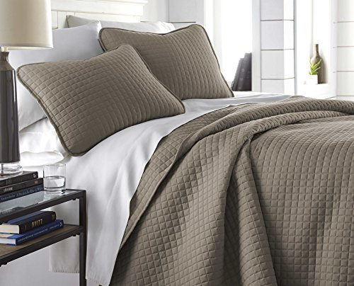 Southshore Fine Linens Vilano Springs Oversized 2 Piece Quilt Set TwinTwin XL Dark Taupe 0