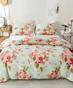 Style Bedding Duvet Cover Queen 100 Cotton Comfy Floral Flower Printed Reversible Pintuck Comforter Cover And Shams 3 Pcs Set With Hidden Zipper And Corner Ties Full Size 90 X 80 In 0 300x360