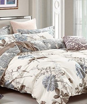 Swanson Beddings Daisy Silhouette Reversible Floral Print 2 Piece 100 Cotton Bedding Set Duvet Cover And One Pillow Sham Twin 0 0 300x360
