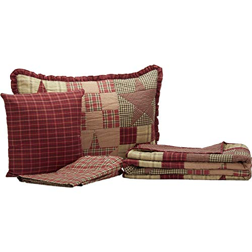 The BitLoom Co Primitive Country Star Patch Red Quilt Set 4 Piece Twin Red 0 0