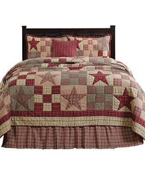 The BitLoom Co Primitive Country Star Patch Red Quilt Set 4 Piece Twin Red 0 300x360