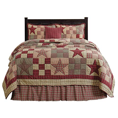 The BitLoom Co Primitive Country Star Patch Red Quilt Set 4 Piece Twin Red 0