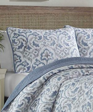 Tommy Bahama Cape Verde Collection 100 Cotton Reversible Light Weight Quilt Bedspread With Matching Shams 3 Piece Bedding Set Pre Washed For Extra Comfort King Smoke 0 0 300x360