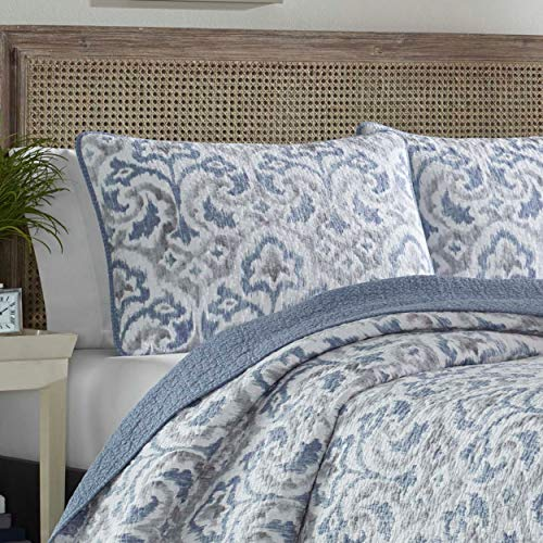 Tommy Bahama Cape Verde Collection 100 Cotton Reversible Light Weight Quilt Bedspread With Matching Shams 3 Piece Bedding Set Pre Washed For Extra Comfort King Smoke 0 0