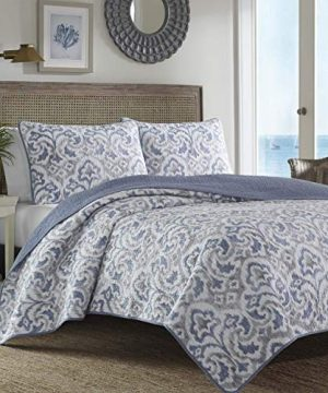 Tommy Bahama Cape Verde Collection 100 Cotton Reversible Light Weight Quilt Bedspread With Matching Shams 3 Piece Bedding Set Pre Washed For Extra Comfort King Smoke 0 1 300x360