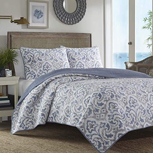 Tommy Bahama Cape Verde Collection 100 Cotton Reversible Light Weight Quilt Bedspread With Matching Shams 3 Piece Bedding Set Pre Washed For Extra Comfort King Smoke 0 1