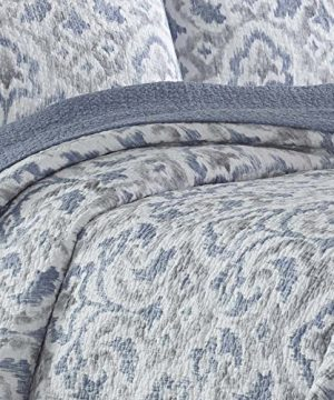 Tommy Bahama Cape Verde Collection 100 Cotton Reversible Light Weight Quilt Bedspread With Matching Shams 3 Piece Bedding Set Pre Washed For Extra Comfort King Smoke 0 2 300x360