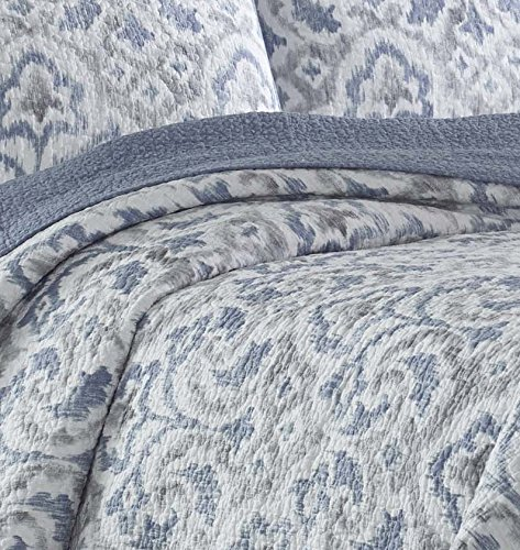 Tommy Bahama Cape Verde Collection 100 Cotton Reversible Light Weight Quilt Bedspread With Matching Shams 3 Piece Bedding Set Pre Washed For Extra Comfort King Smoke 0 2