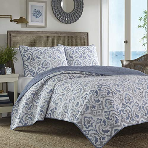 Tommy Bahama Cape Verde Collection 100 Cotton Reversible Light Weight Quilt Bedspread With Matching Shams 3 Piece Bedding Set Pre Washed For Extra Comfort King Smoke 0