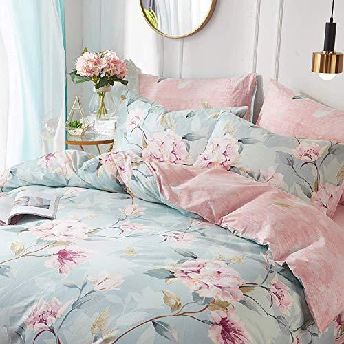 VClife Cotton Bedding Duvet Cover Sets Full Botanical Flower Branch Pattern Queen Comforter Quilt Cover Sets 1 Duvet Cover 2 Pillowcases Hypoallergenic Lightweight Hotel Luxury Soft 0 0