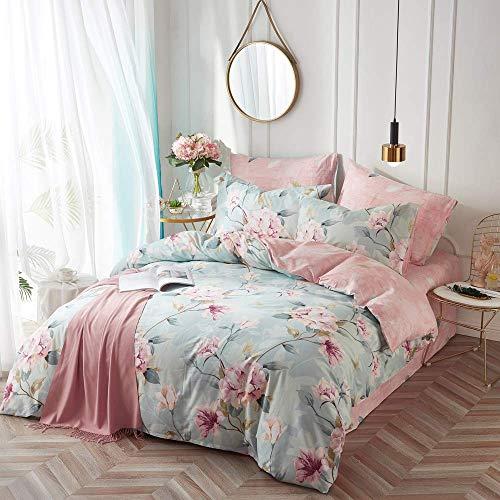 VClife Cotton Bedding Duvet Cover Sets Full Botanical Flower Branch Pattern Queen Comforter Quilt Cover Sets 1 Duvet Cover 2 Pillowcases Hypoallergenic Lightweight Hotel Luxury Soft 0 1