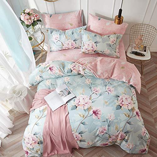 VClife Cotton Bedding Duvet Cover Sets Full Botanical Flower Branch Pattern Queen Comforter Quilt Cover Sets 1 Duvet Cover 2 Pillowcases Hypoallergenic Lightweight Hotel Luxury Soft 0 2