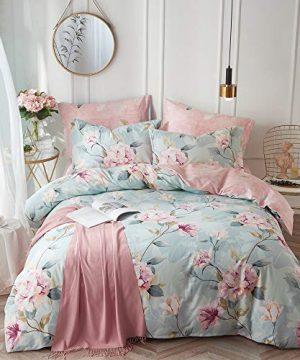 VClife Cotton Bedding Duvet Cover Sets Full Botanical Flower Branch Pattern Queen Comforter Quilt Cover Sets 1 Duvet Cover 2 Pillowcases Hypoallergenic Lightweight Hotel Luxury Soft 0 300x360