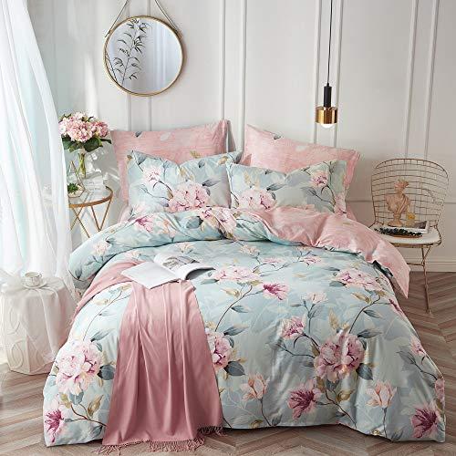 VClife Cotton Bedding Duvet Cover Sets Full Botanical Flower Branch Pattern Queen Comforter Quilt Cover Sets 1 Duvet Cover 2 Pillowcases Hypoallergenic Lightweight Hotel Luxury Soft 0
