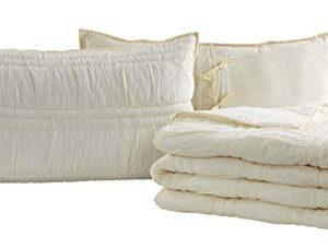 VHC Brands Natasha Quilted Bedspread Coverlet Farmhouse Soft Cotton 2 Piece Set Bedding Accessory Twin Ivory 0 1 300x227