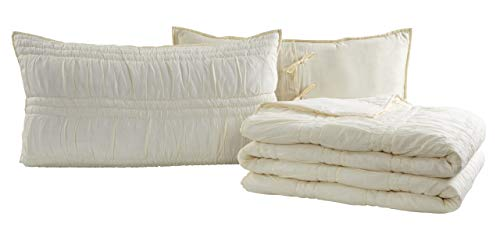 VHC Brands Natasha Quilted Bedspread Coverlet Farmhouse Soft Cotton 2 Piece Set Bedding Accessory Twin Ivory 0 1