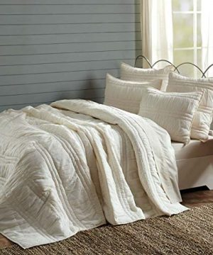 VHC Brands Natasha Quilted Bedspread Coverlet Farmhouse Soft Cotton 2 Piece Set Bedding Accessory Twin Ivory 0 3 300x360