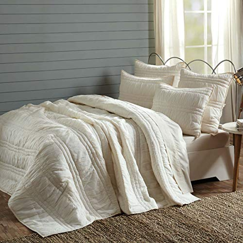 VHC Brands Natasha Quilted Bedspread Coverlet Farmhouse Soft Cotton 2 Piece Set Bedding Accessory Twin Ivory 0 3
