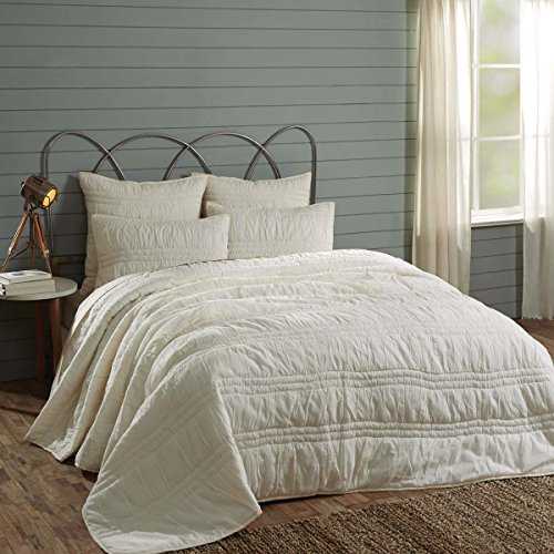 VHC Brands Natasha Quilted Bedspread Coverlet Farmhouse Soft Cotton 2 Piece Set Bedding Accessory Twin Ivory 0