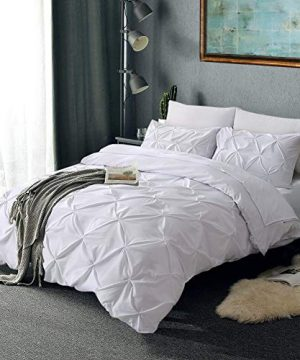 Vailge 3 Piece Pinch Pleated Duvet Cover With Zipper Closure 100 120gsm Microfiber Pintuck Duvet Cover Luxurious Hypoallergenic Pintuck Decorative WhiteTwin 0 3 300x360