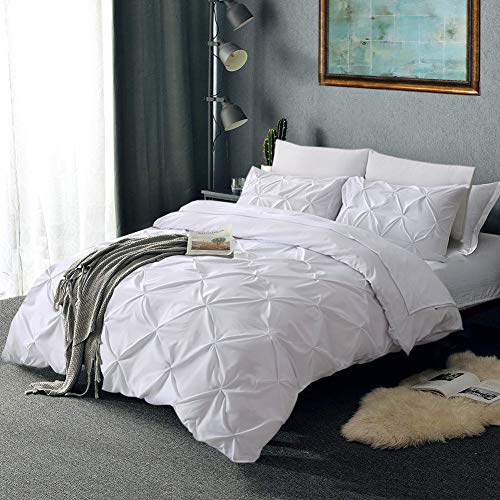 Vailge 3 Piece Pinch Pleated Duvet Cover With Zipper Closure 100 120gsm Microfiber Pintuck Duvet Cover Luxurious Hypoallergenic Pintuck Decorative WhiteTwin 0 3