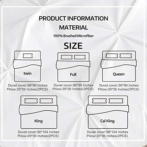 Vailge 3 Piece Pinch Pleated Duvet Cover With Zipper Closure 100 120gsm Microfiber Pintuck Duvet Cover Luxurious Hypoallergenic Pintuck Decorative WhiteTwin 0