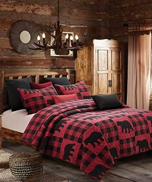 Virah Bella Collection Phyllis Dobbs Buffalo Bear Plaid Red Polyester FullQueen Quilt Bedding Set With 2 Standard Shams 0 300x360