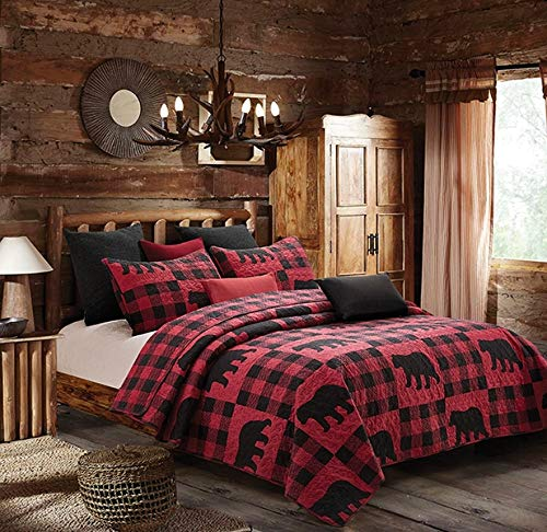 Virah Bella Collection Phyllis Dobbs Buffalo Bear Plaid Red Polyester FullQueen Quilt Bedding Set With 2 Standard Shams 0
