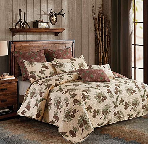 Virah Bella Collection Phyllis Dobbs Forest Pines Polyester FullQueen Quilt Bedding Set With 2 Standard Shams 0